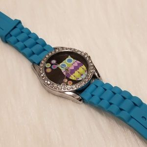 Geneva Women's Blue Owl Quartz Watch & Rhinestones